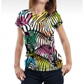 Colorful Zebras Women T-shirt
